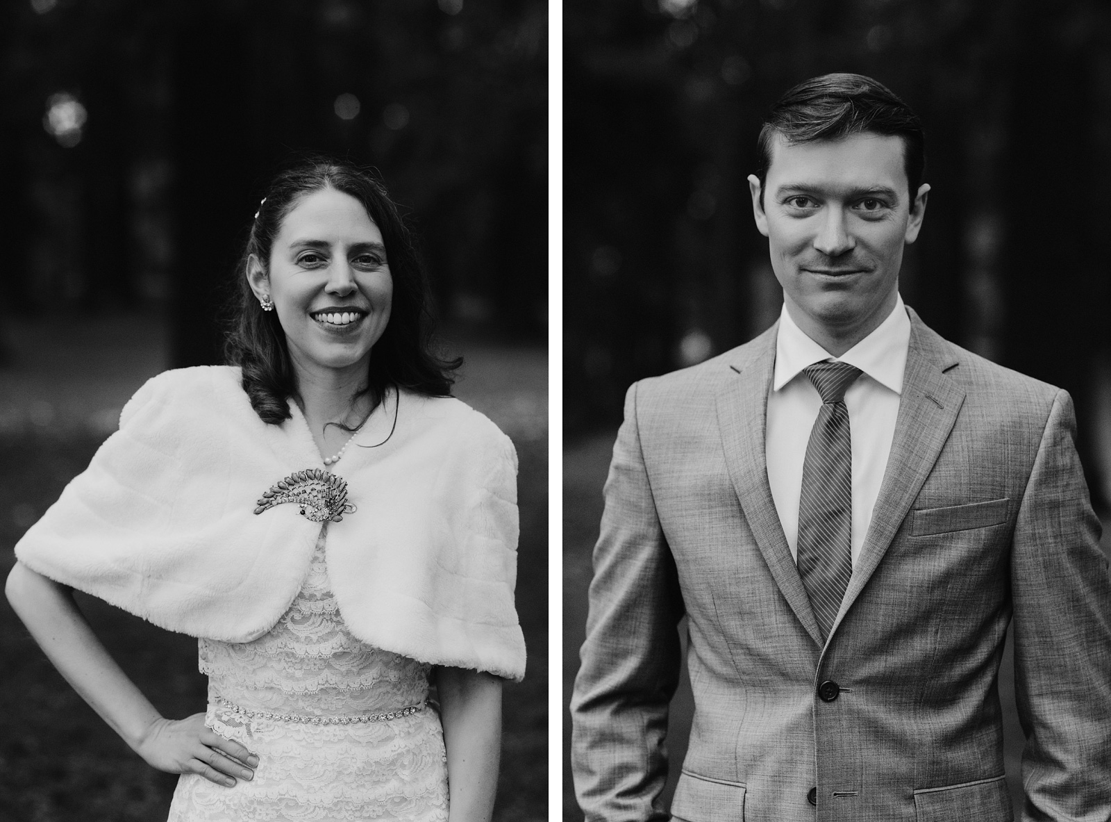 Black and white portraits of Bride and Groom at Mt. Tabor Park