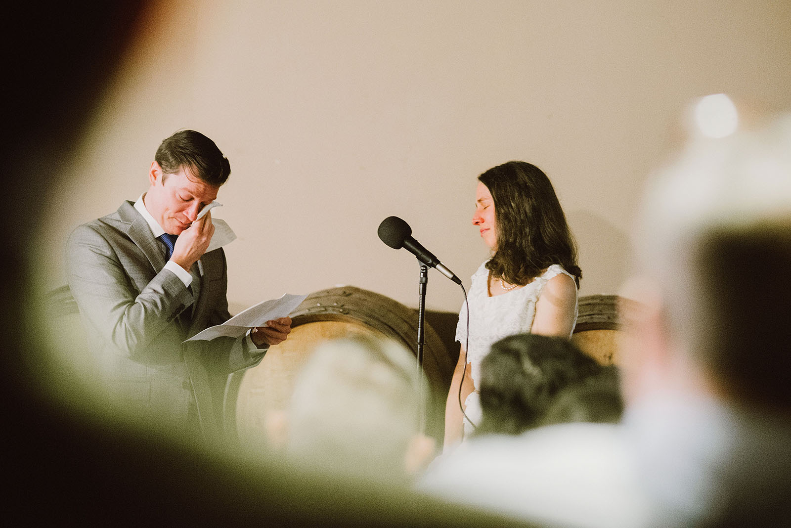 Groom crying during vows at an Intimate Restaurant Wedding in Portland, OR
