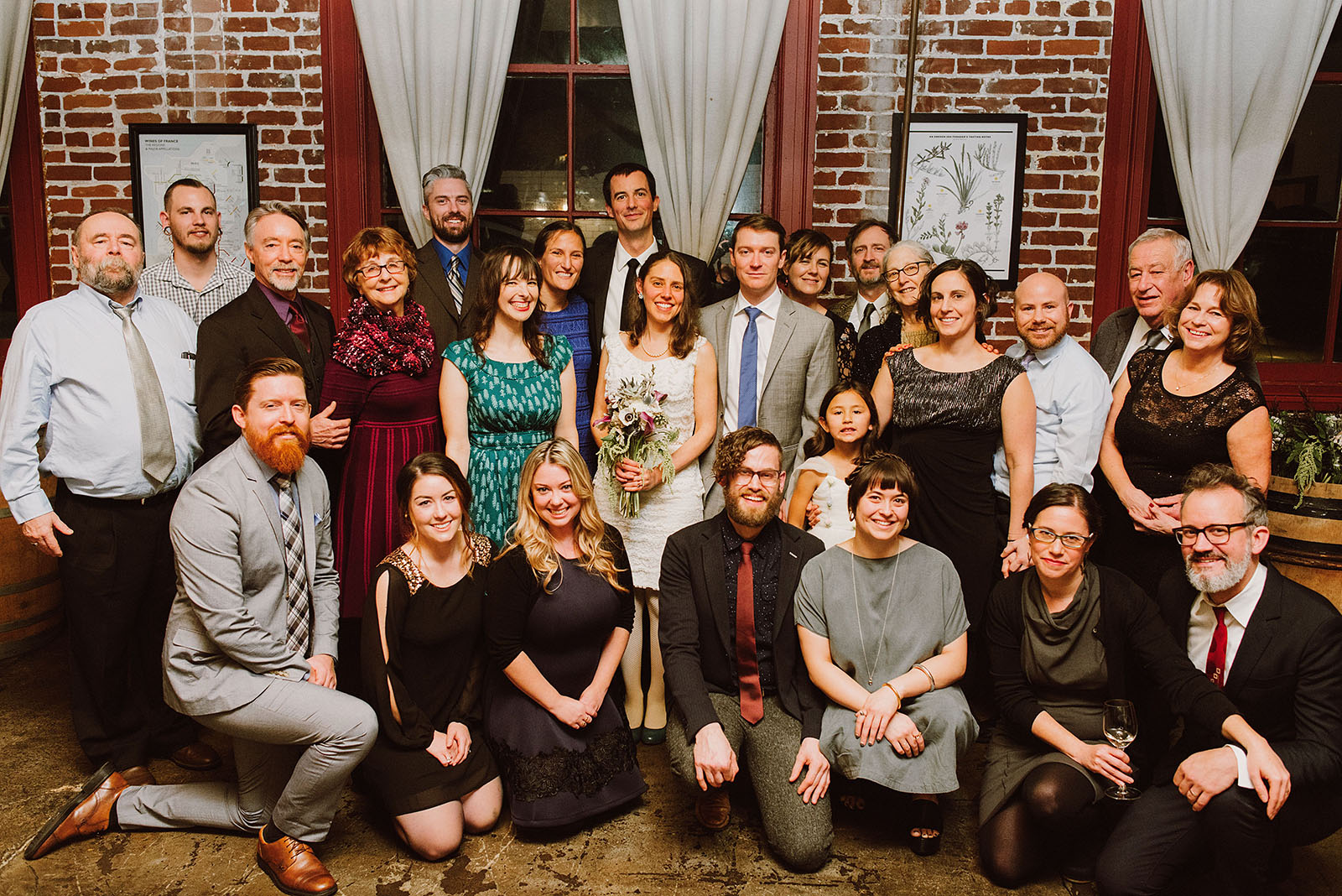 Group shot of all the guests at an Intimate Restaurant Wedding in Portland, OR