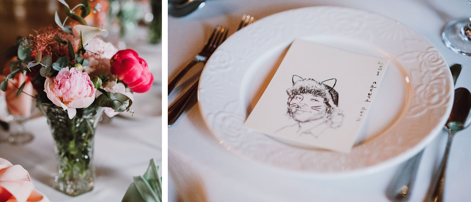 Polaris Hall Wedding decorations with drawings of guests