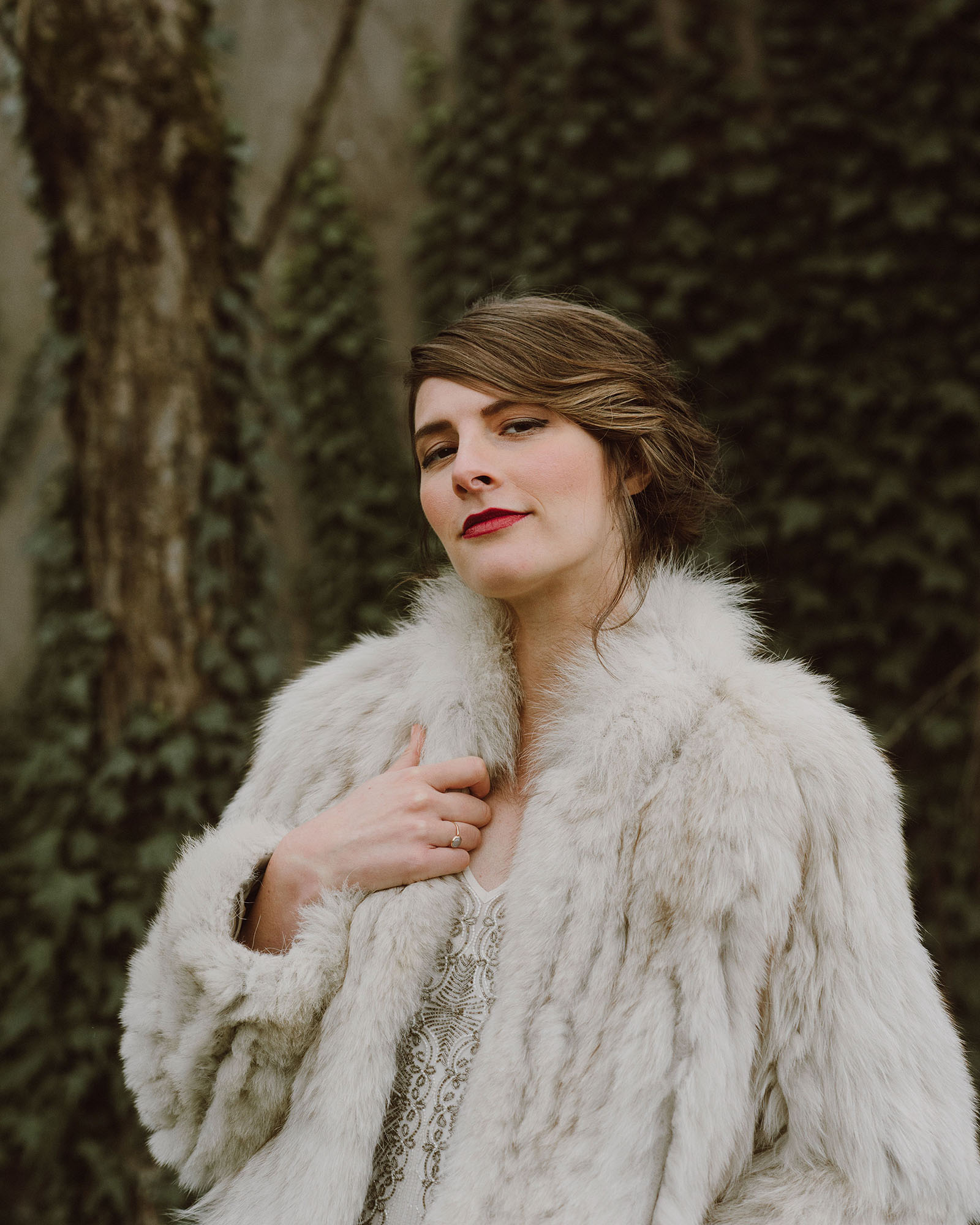 Portland Bridal Photography - Candid photo of Bride in a fur coat