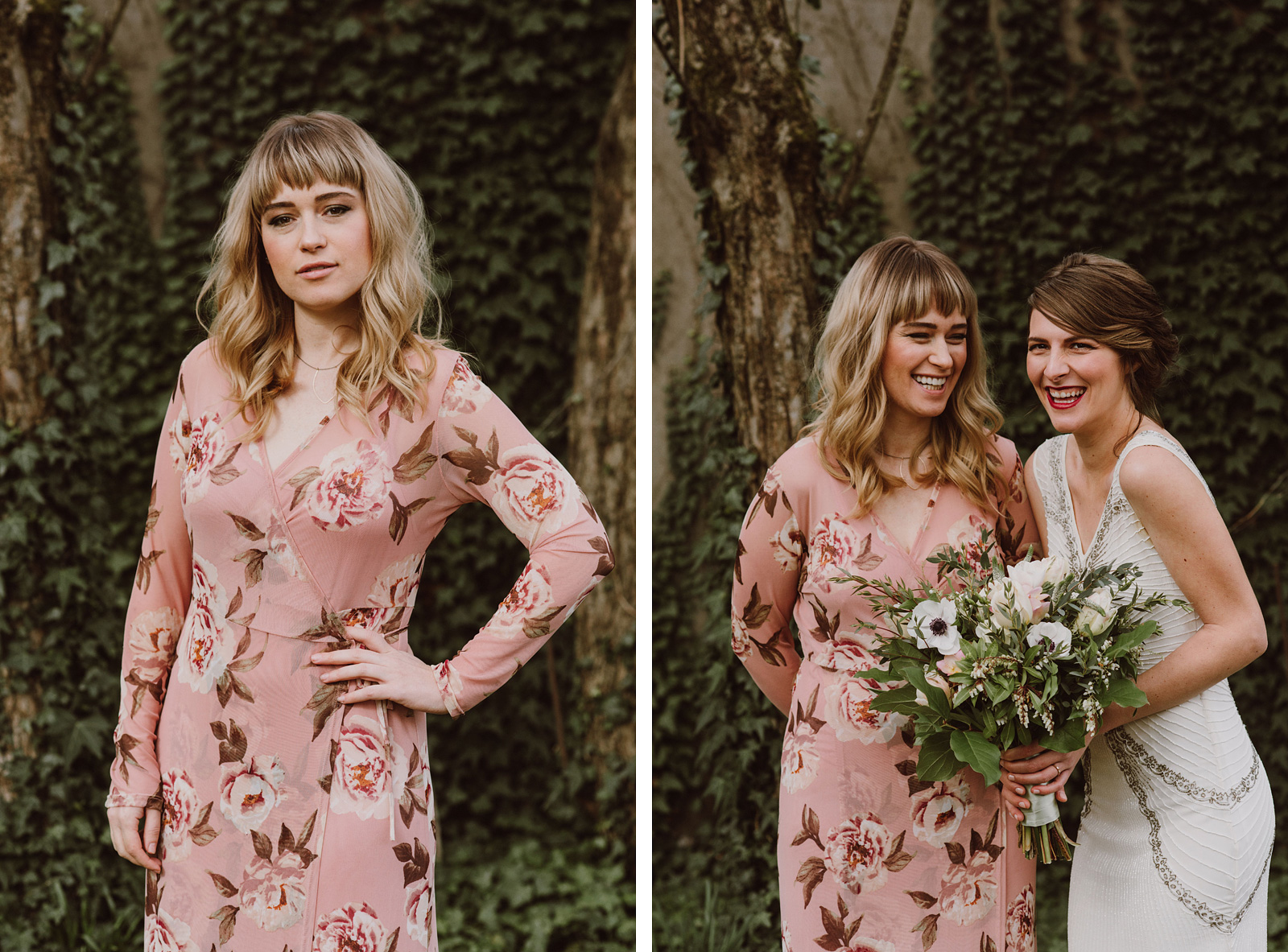 Portland Bridal Photography - Bride and bridesmaid giggling in a backyard
