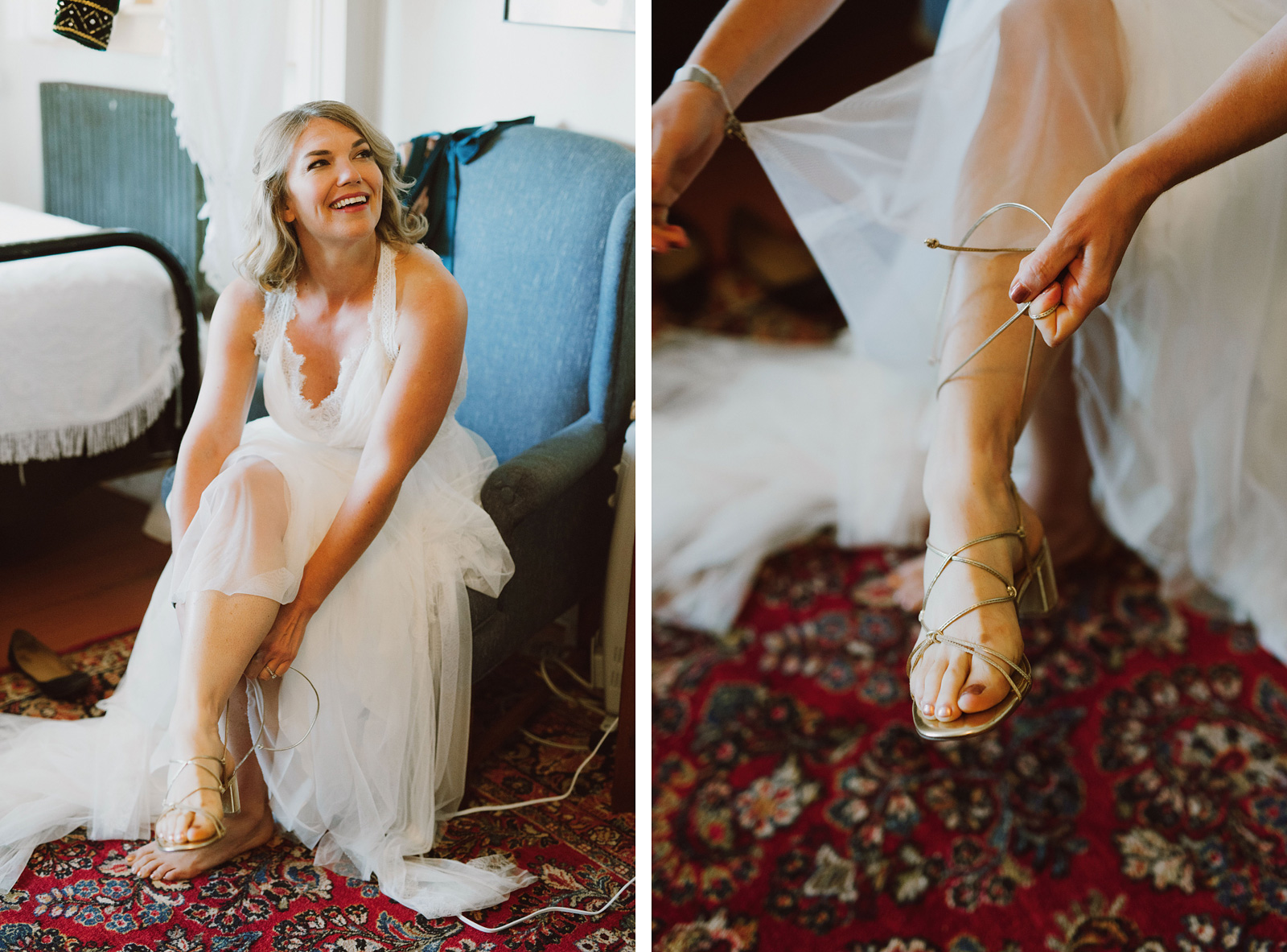 Bride lacing up her shoes at a SouWester Wedding in Seaview, WA