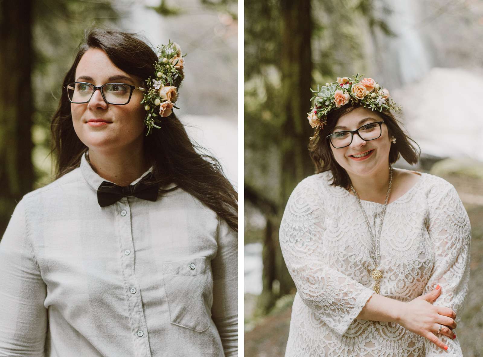 Portraits of the brides at a Portland waterfall elopement