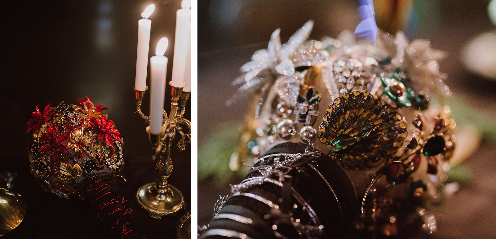 Brooch bouquets for the bride and maid of honor at The Colony St Johns Wedding