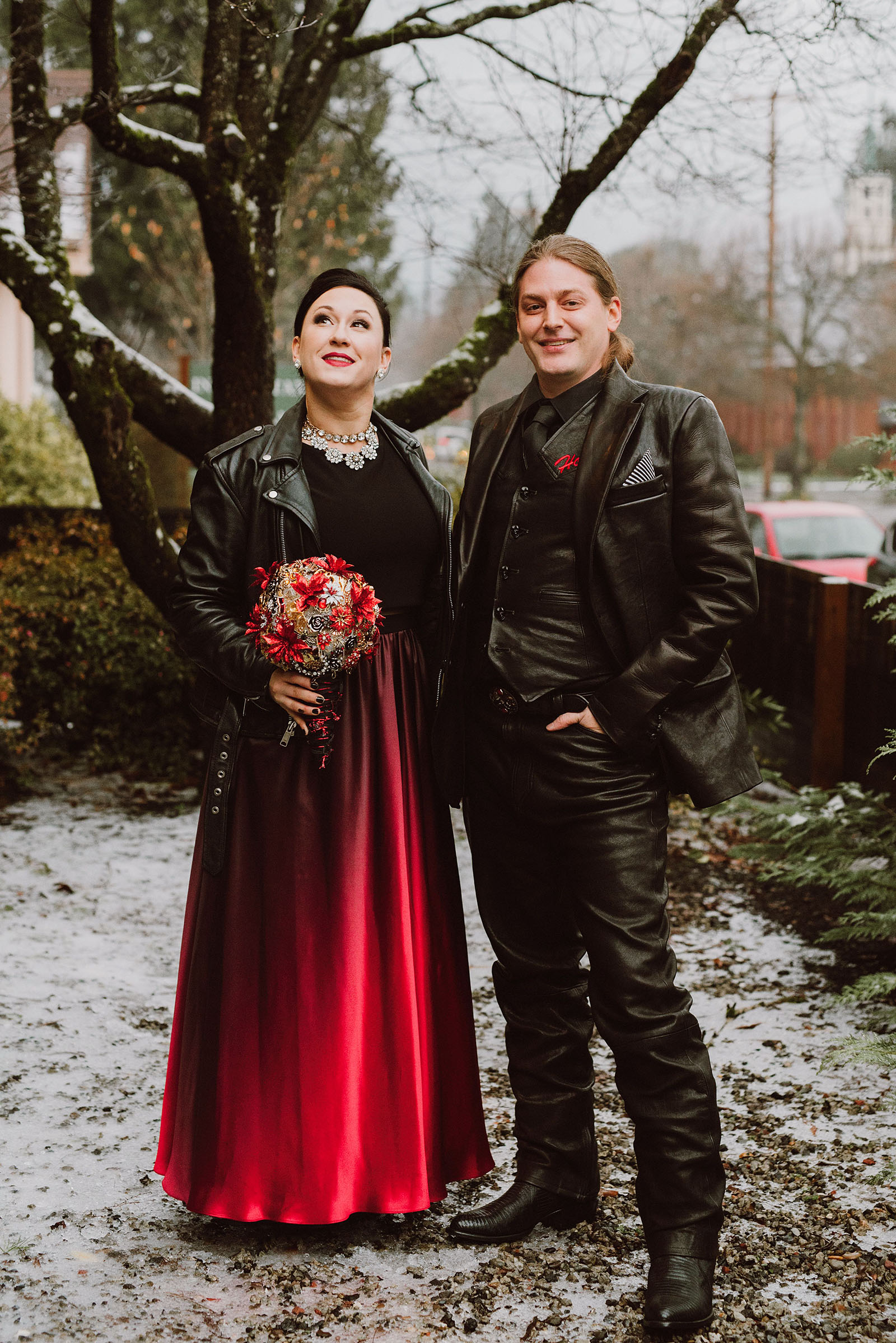 Portrait of the bride and groom in the snow at The Colony St Johns Wedding