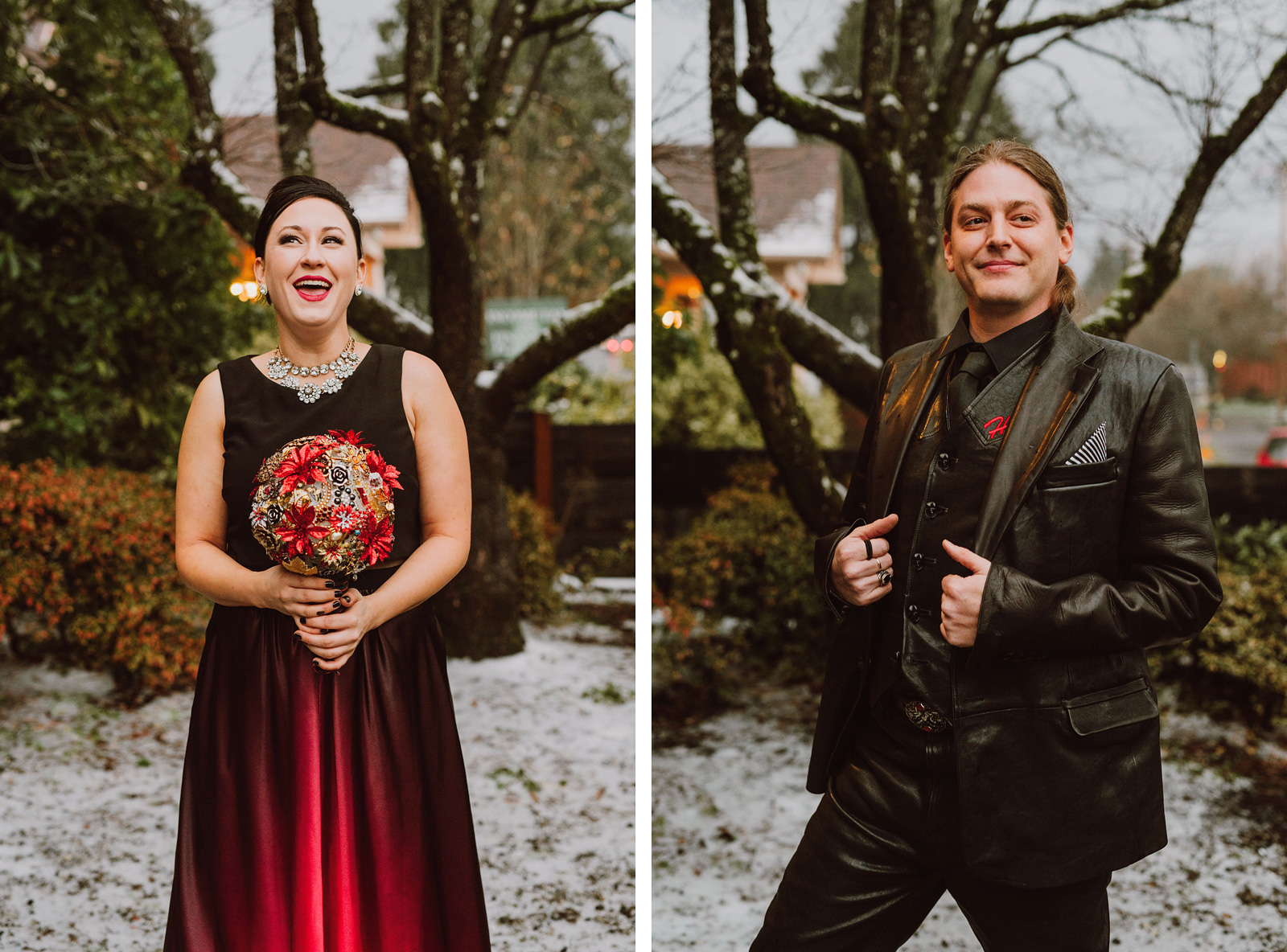 Bride and Groom wearing leather at The Colony St Johns Wedding