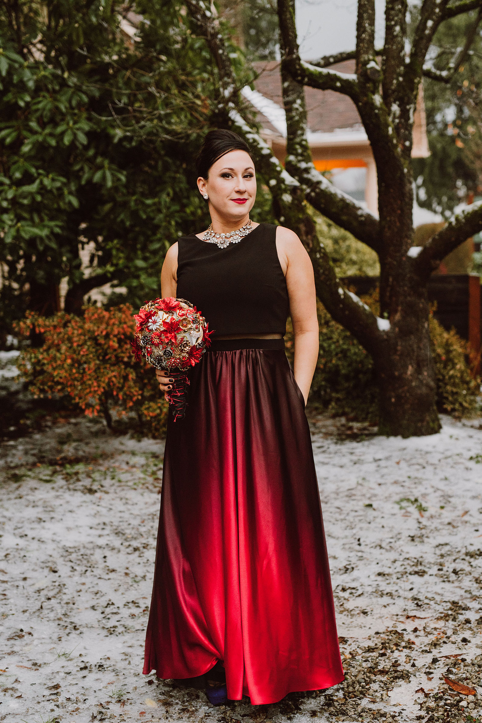 Bride in a red ombre dress at The Colony St Johns Wedding