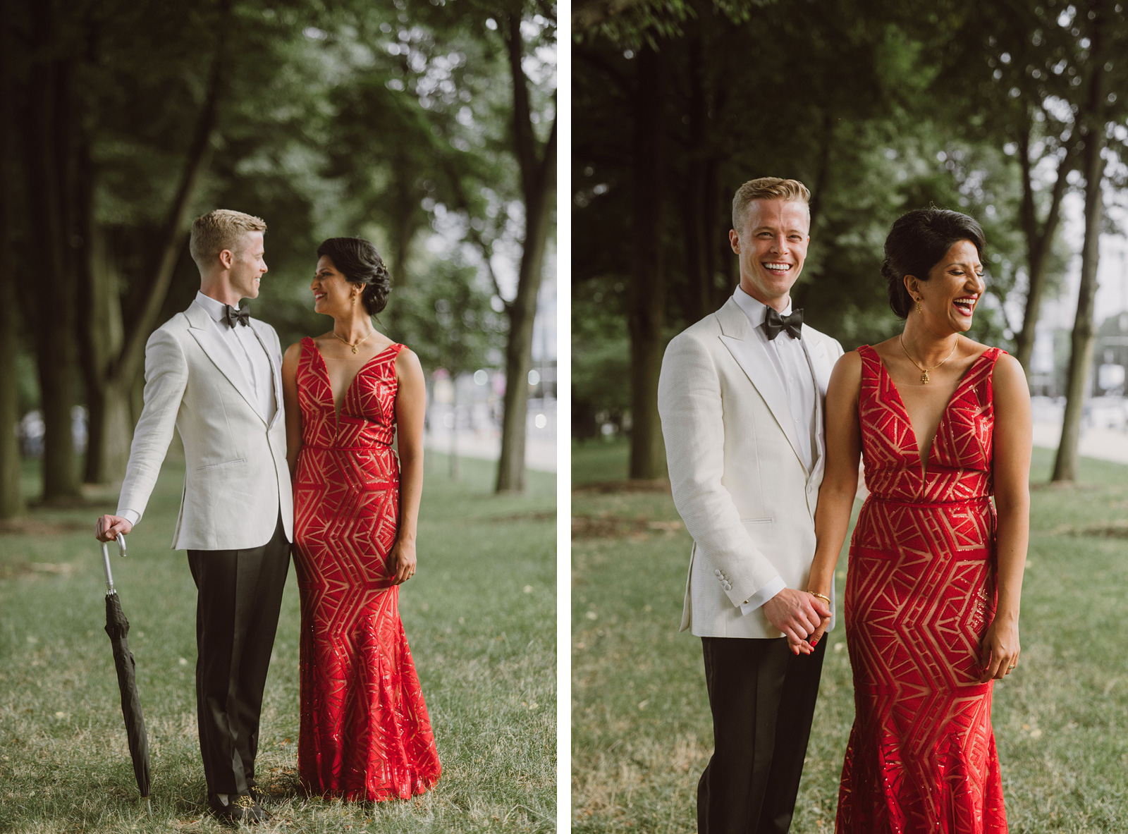 bride and groom in formal wear at a park in Chicago - portland wedding photography