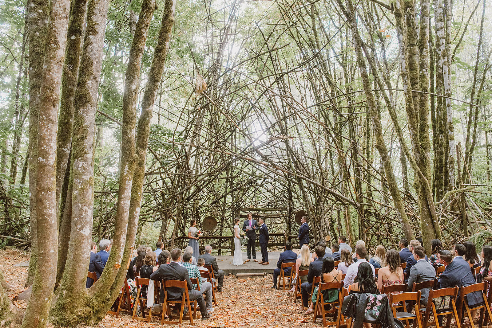 wedding ceremony at the Woods Stage in Pendarvis Farm - portland wedding photography