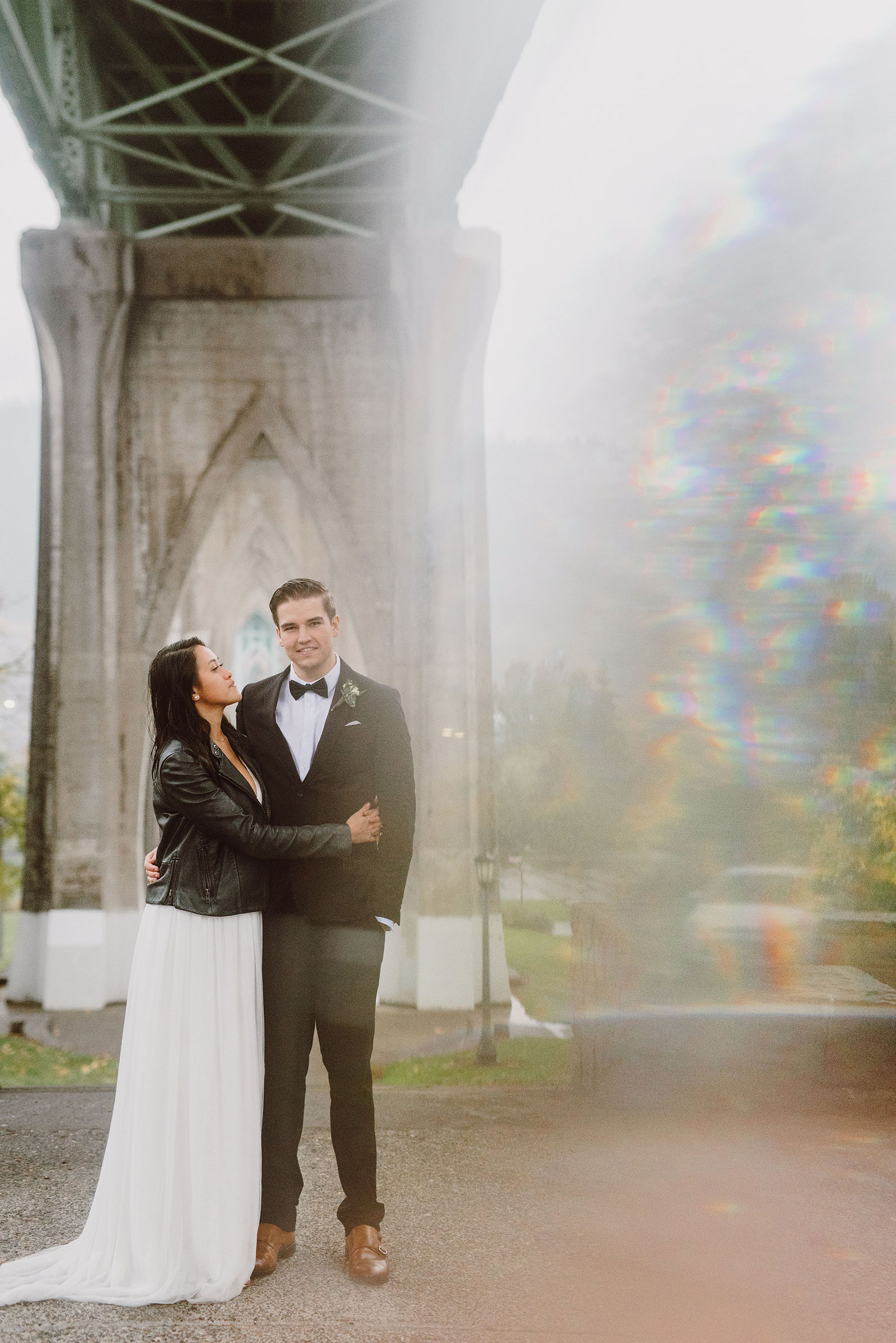 elopement under the St John's Bridge - portland wedding photography