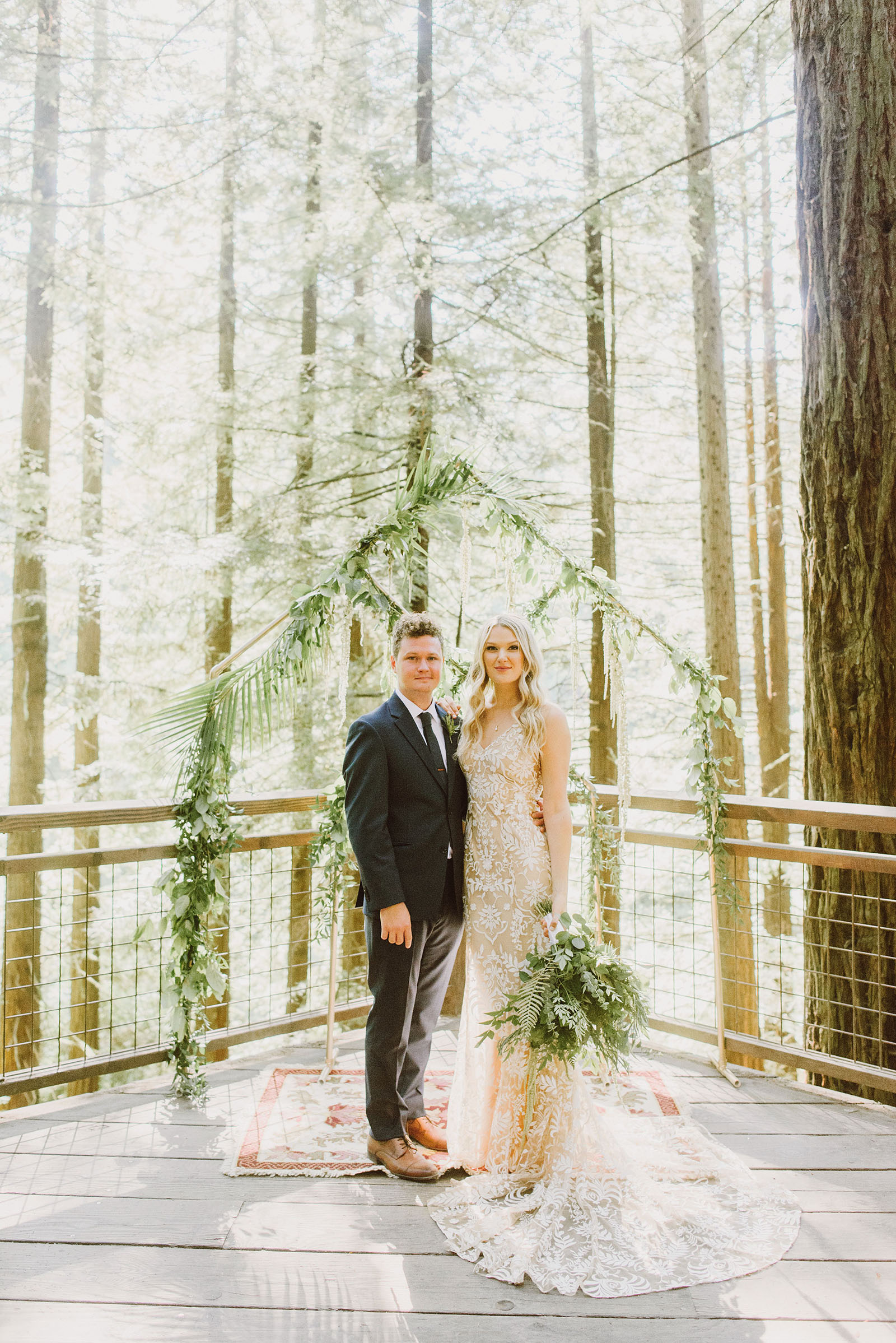 portrait of bride and groom at the altar in Hoyt Arboretum - portland wedding photography