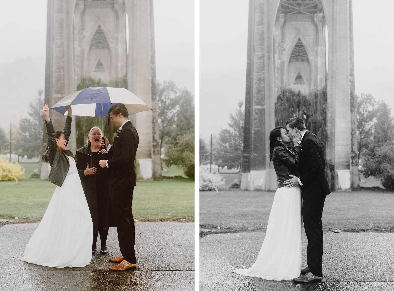 rainy elopement under the St John's Bridge - portland wedding photography