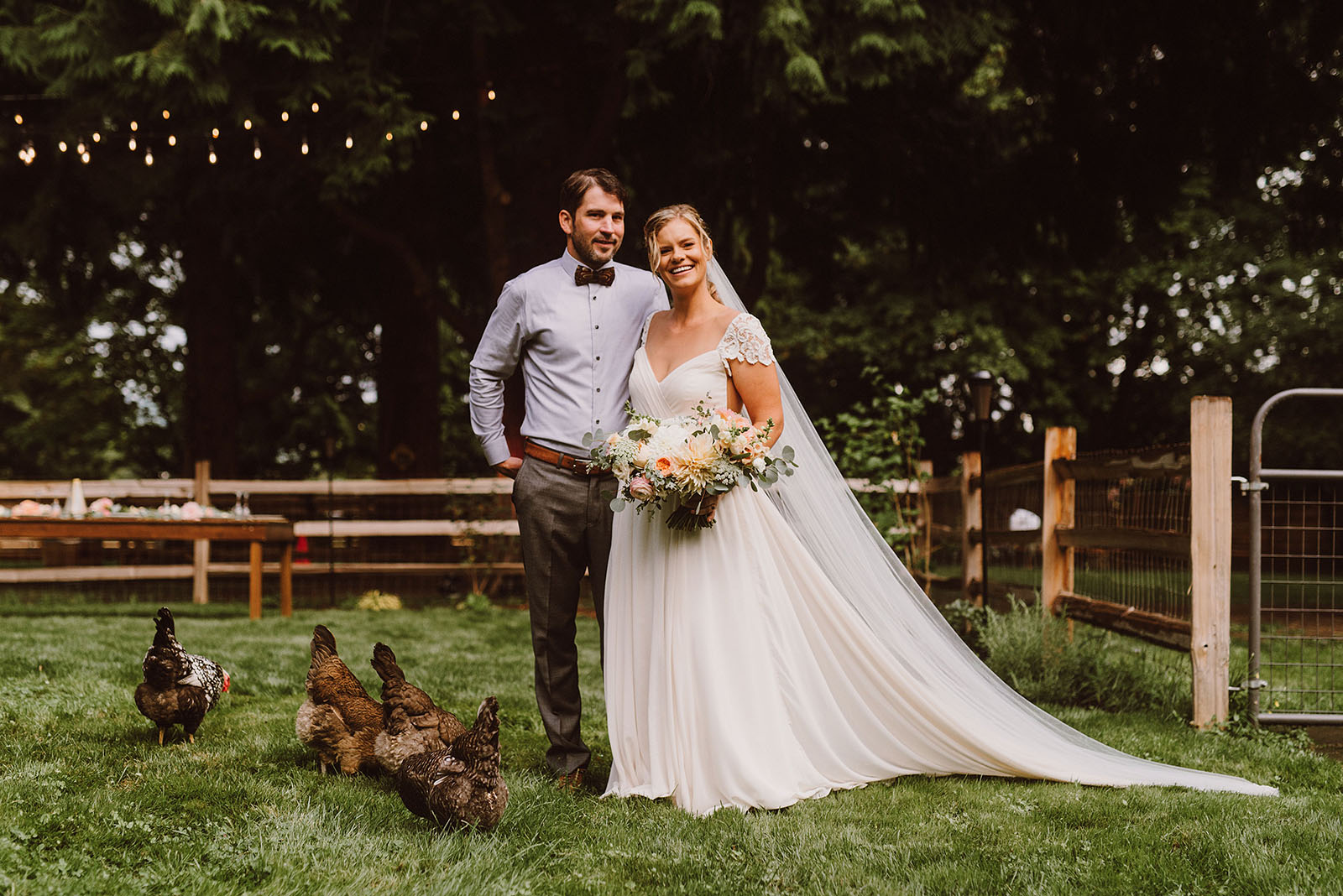 bride and groom posing with their chickens - portland wedding photography