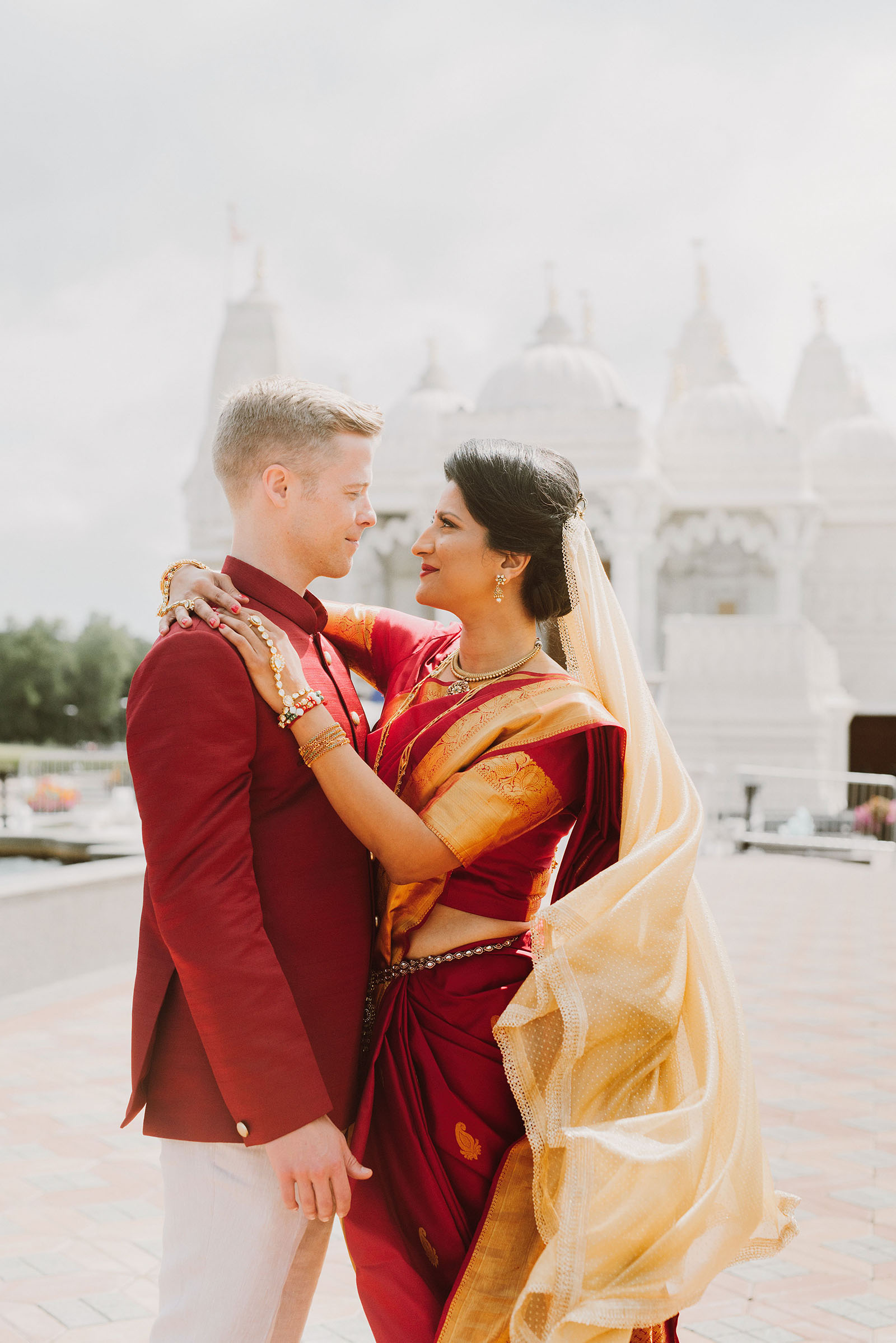 first look at a Hindu temple in Chicago - portland wedding photography